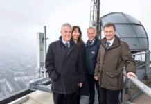 Für den neuen Kommunikationsstandard 5 G im Hamburger Hafen wurden auf dem Fernsehturm der Hansestadt zwei Antennen installiert