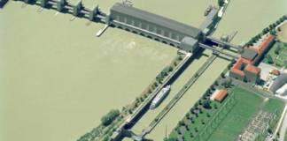 Die Staustufe Jochenstein an der Donau