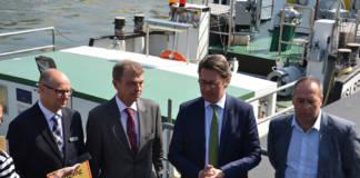 Guido Zander, Leiter des WSA Donau MDK Prof. Dr.-Ing. Hans-Heinrich Witte; Präsident der GDWS Bundesverkehrsminister Andreas Scheuer Alexander Bätz, BPR