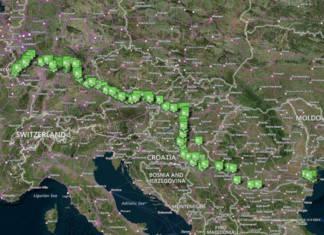 Internationale Donaukarte mit eingezeichneten Liegestellen