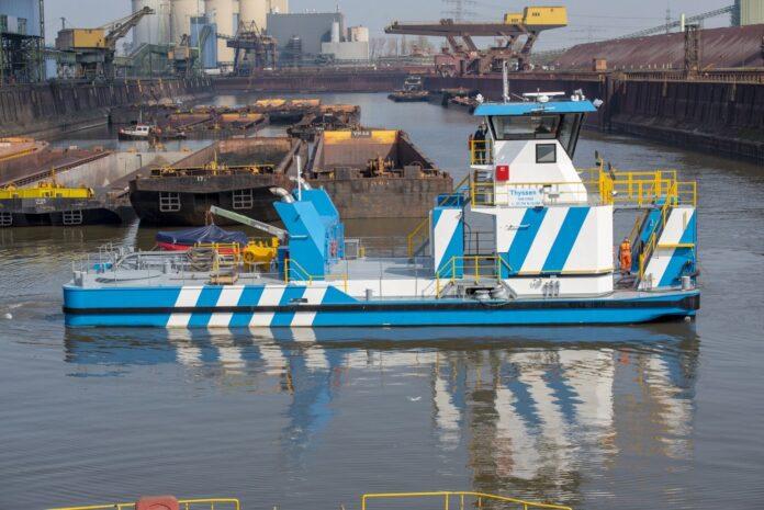 Die »Thyssen1« ist das erste von zwei neuen Schubbooten für den Werkshafen-Verkehr von ThyssenKrupp Steel in Duisburg und Schwelgern ©ThyssenKrupp Steel