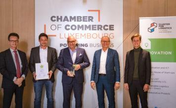 Preisverleihung (v.l.): Carlo Thelen, Christian Schulz, Jürgen Helten, Claude Turmes, Philippe Scholten © Luxport